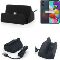 K-S-Trade Dockinsgstation für Samsung Galaxy A51 Ladestation Dock Ladegerät Docking Station inkl. USB Typ C Kabel schwarz