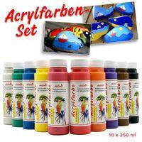 Acrylfarbe 10er Set je 250 ml Künstler Acrylfarben Malfarben Seidenmatt Pouring