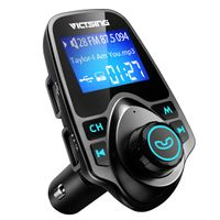"""Bluetooth FM Transmitter for Car, Wireless Bluetooth Car Adapter with Hand-Free Calling and 1.44"""" LCD Display, Music Player Support TF Card USB Flash Drive AUX"""