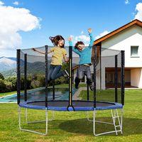 Outdoor-Trampolin mit Sicherheitszaun und Leiter,  Tragfähigkeit von bis zu 150 kg dunkelblau 10FT
