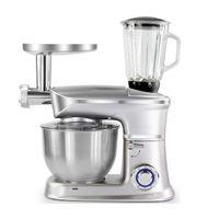 HOMELUX 5 L 2000 W Küchenmaschine Knetmaschine Fleischwolf 3 in 1 Silber