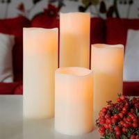 Best Season LED-Leuchtkerze mit Echtwachs, flackernd ca.25 x 10 cm,Timer, batteriebetr., w/w LED, 068-67