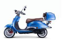 Motorroller, Moped, Mofa 50 ccm Klassik Azuro 4.0 blau Sitzbank braun