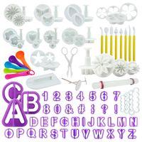 int!rend 94-Teiliges Fondant Ausstecher Set, Ausstechformen für Buchstaben, Zahlen, Motive für Torten-Deko
