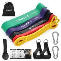 LIXADA 5 Packs Pull Up Assist Baender Set Resistance Loop Baender Powerlifting Dehnungsbaender mit Tueranker und Handgriffen