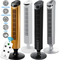 KESSER Turmventilator FERNBEDIENUNG Ventilator LED Display Standventilator Klimaanlage, Farbe:Weiß