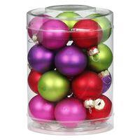 Weihnachtskugeln Glas 3cm, 20 Stück, Farbe:Happy Xmas ( lila / grün / rot / fuchsia / magenta )