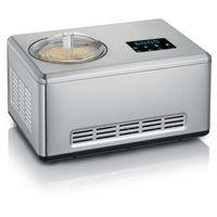 Severin EZ 7406 2-in-1-Eismaschine mit Joghurt-Funktion und 2 Eisbehältern gebürsteter Edelstahl, Farbe:Edelstahl