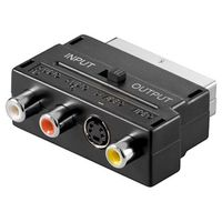 Scart zu Composite Audio Video und S-Video Adapter; IN/OUT, Scartstecker (21-Pin)