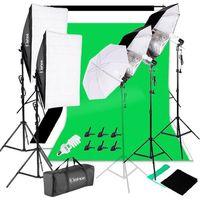 KS07 Professionelles Fotostudio-Set Hintergrund Stš¹tzsystem Softbox Dauerlicht Set 5500K Regenschirm mit 2M-Stativ fš¹r Portr?ts, Produktfotografie und Videoaufnahme