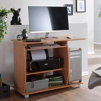 WOHNLING Computertisch DIANA rollbar Buche 90 x 71 x 50 cm mit Tastaturauszug | Laptop Tisch auf feststellbaren Rollen | PC-Tisch mit Drucker-Ablage platzsparend | Schreibtisch für kleine Räume