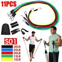 11 Stück Fitnessbänder Expander Widerstandsbänder Set mit 5 Fitness Tube