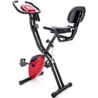 Merax Heimtrainer 3-in-1 X-bike Fitnessbike Speedbike mit Expanderbändern, Magnetische Faltbares Fitnessfahrrad mit 10 Widerstandsstufen, Fitnessgeräte, Max. Benutzergewicht 120 kg, Rot