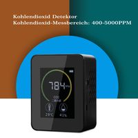 Kohlendioxid-Detektor mit Akku Tragbarer CO2-Meter-Tester fuer, Luftqualität Messgerät USB CO2-Melder mit Temperatur&Feuchtigkeits