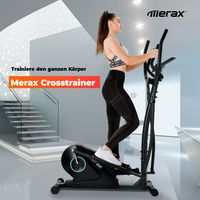 Crosstrainer Ellipsentrainer mit LCD-Display und Geräteständer, tragbarer Ellipsentrainer für Heimübungen mit 8 Stufen Widerstand und bidirektionale Bewegung, Maximales Benutzergewicht 150 kg,