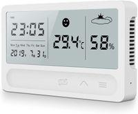 Innenthermometer, Digital Hygrometer Thermometer Innen, Wiederaufladbar Digitales Thermo Hygrometer innen mit Wecker