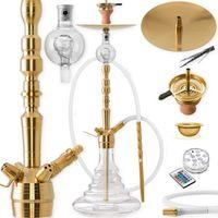DILAW® ONYX Shisha Edelstahl Set Hookah Komplettset Wasserpfeife Molassefänger, Farbe:Gold Edelstahl, Größe:Big Size