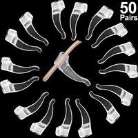 50 Paare Klar Brille Ohr Grip Brillenhalter Silikon Anti-Rutsch Brille Haken Brillen Ohr Grip Haken zum Verhindern, dass Brillen abrutschen