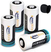Wiederaufladbare Arlo Akkus, 3.7V 700mAh Cr123a Li-ion Arlo RCR123A Batterien, 1 Silikon Hüllen für Arlo Überwachungskamera VMC3030/3230/3330/3430 (4 Stücke)