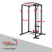 Peak Power Power Rack, massive standsichere Stahlkonstruktion, Fitness Rack Set mit 2 Spottern, Klimmzugstange, Dip-Ständer, Latzug und Ruderzug – für Anfänger und Fortgeschrittene