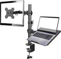 APOKKO Monitor Halterung mit Laptop Arm, Volleinstellbar für 13 bis 27 Zoll LCD LED Bildschirm & max. 15.6 Zoll Notebook, 2 Montageoptionen