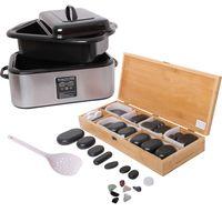 Hot Stone Massage Set Groß - Wärmegerät ca. 20 Liter + 64 Basaltsteine/Wärmesteine - Heiße Steine Set für die Wärmebehandlung