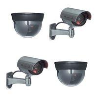 relaxdays 4er Set Kamera Attrappe Dome Kamera Sicherheitskamera CCD Kamera Outdoor LED