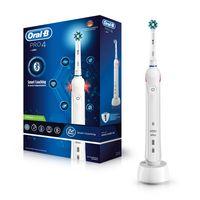 Oral-B Pro 4 Elektrische Zahnbürste mit Smart Coaching & visueller Andruckkontrolle, 5 Putzprogramme, Timer, weiß