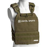 CAPITAL SPORTS Battlevest 2.0 Gewichtsweste , inklusive 2 Paar Gewichtsplatten: 2x 5.75 lbs & 2x 8.75 lbs , hoher Tragekomfort und optimale Gewichtsverteilung durch dicke Polsterung, olivgrün