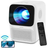 Boomersun Mini Beamer Wifi 1080P Full HD mit Fernbedienung, LCD Cube Projektor, mit ±40°Elektronische Korrektur, für WANBO Beamer T2 Max Projektor, für HDMI/USB2.0/Phone/PS4/TV Stick/Smartphone/Xbox/Laptop/IOS/Android