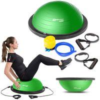 Hop-Sport Balance Ball HS-L058B Balancetrainer Gymnastikball mit Expander & Pumpe für Fitness, Stabilitäts-Training Ø 63,5 cm  - Grün