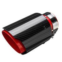 "AUDEW Edelstahl Auto Auspuff Blende Endrohr  2,5"" 63mm-89mm Universal Rot + Carbon"