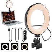 """LED Ringlicht 6"""" Ringleuchte, Dimmbare Ringlicht Laptop mit 3 Lichtfarben +11 Helligkeiten, 360°Drehbar Tischringlicht mit Klemmhalterung festklemmbar für Live Stream Selfie/Makeup/Volg/TikTok"""