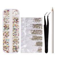 Nageldesign,1 Set Multi Size Glasnagel Strasssteine Flat Back AB Crystal Gems Bleistift 3D Dekorationen fuer DIY Manikuere Nail Art Dekorationen mit Pinzette Set,Multicolor,