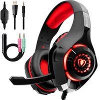 GM-1RED Gaming Kopfhörer für PS4 PC Xbox One, LED Light(Zufällige Farben)
