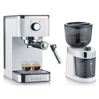 GRAEF ES 401 Salita Set Siebträger-Espressomaschine inkl. Kaffeemühle CM 201 weiß, Farbe:Weiß