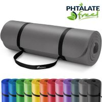 TRESKO Yogamatte 190x100x1,5cm Fitnessmatte Gymnastikmatte Pilates Grau