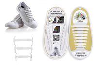 SCHNÜRRLIE Schnürsenkel - elastische Silikon Schnürsenkel - Schuhband ohne Schuhe Binden - Flache Gummi Schnürbänder für Kinder und Erwachsene - Weiß