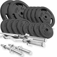 Hop-Sport GUSS Hantelset 76 kg, 1x Langhantel, 1x SZ Stange & 2x Kurzhantel inkl. 14 Hantelscheiben 2x10kg/4x5kg/4x2,5 kg/4x1,25kg