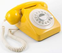 GPO 746 Rotary 1970s retro style landline telephone - curly cord, authentic bell ring