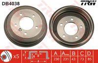 Trw Bremstrommel Hinterachse DB4038
