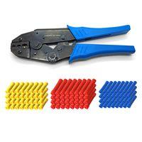 ARLI Crimpzange 0,5 - 6 mm² + 100x Stossverbinder ( 40x rot 50x blau 10x gelb )