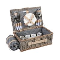 Picknickkorb-Set HWC-B24 für 4 Personen, Weiden-Korb, Porzellan Edelstahl  schwarz-weiß