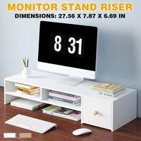 MECO Monitorerhöhung Monitorständer Tischaufsatz Bildschirmständer Notebookständer Schreibtischaufsatz Aufbewahrungsständer