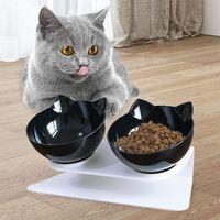 Doppelter Futternäpfe Katzenfutter 15° Futternapf Katzen,Rutschfeste Futterschüssel Hundenapf Schräg Doppelschüssel Anti-erbrechen-katzenschüssel für Katze Welpe(Schwarz)