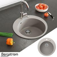 Bergström Granit Spüle Küchenspüle Einbauspüle Spülbecken Rund 505mm Beige