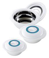 3tlg. KING® Thermobehälter-Set SOLITAIRE  / Größen: 1200 ml, 1800 ml und 2800 ml / Farbe: Weiß mit blauem Akzent