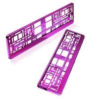 baytronic Kennzeichenhalter pink chrom 2er Set
