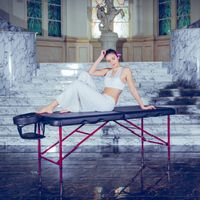 Master Massage 71cm Zephy™ Mobile Massageliege Beauty Bed Paket mit Klappbarem Aluminiumgestell-Schwarz