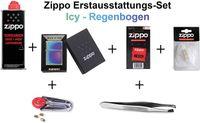 Zippo Erstausstattungs-Set: Zippo Feuerzeug Spectrum (ICY, Regenbogen)+ Benzin, Feuersteine, Docht, Watte, und Pinzette